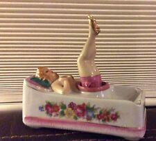 Vintage Lady In Bathtub Nodder Ashtray Ceramic With Rocking Legs