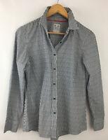 Ladies Crew Clothing Cotton Shirt Size 14 Blue White Striped Blouse