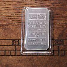 Vintage Johnson Matthey JM 1oz Serialized 999 Fine Silver 1oz Bar # 946210