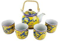 5pc Ceramic ORIENTAL DRAGON Chinese Tea Set Teapot / strainer 4 Cups in gift box