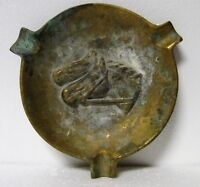 """Vintage HORSE RACING Brass ASHTRAY Aged Rustic Round 4.75"""" Diameter HORSES HEADS"""