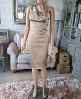 Karen Millen 8 10 Ladies Wiggle Pencil Dress Champagne Gold Halterneck WORN ONCE
