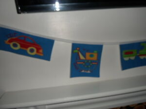 CARS and BOATS and PLANE boys Fabric party/play/bedroom Bedding Bunting 6 flags