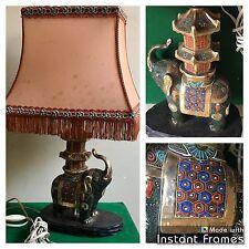 Vintage Lampe Éléphant Émaillé De Bureau , Table , Chevet   Éclairage Luminaire