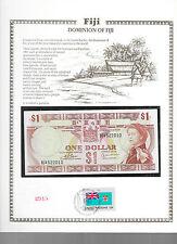 Fiji 1 Dollar 1974 P 71b GEM UNC  w/FDI UN FLAG STAMP Birthday B/4 522010