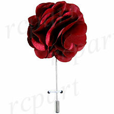 "brooch burgundy solid 2"" flower lapel pin New in box formal Men Suit chest"