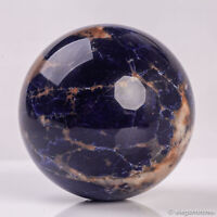 683g 78mm Large Natural Blue Sodalite Quartz Crystal Sphere Healing Ball Chakra