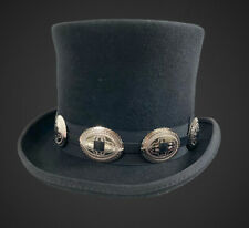Conch Wool Felt Top Hat Steampunk Topper Victorian Mad Hatter Slash Concho Band