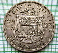 GREAT BRITAIN 1937 CROWN, CORONATION OF KING GEORGE VI, SILVER PATINA