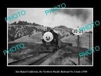 POSTCARD SIZE PHOTO SAN RAFAEL CALIFORNIA NORTHERN PACIFIC RAILROAD TRAIN c1950