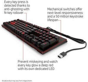 HP Omen 1100 UK QWERTY Mechanical Gaming Keyboard - Black & Red - 1MY13AA#ABU