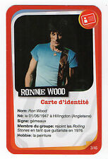 French Pop Star Card Rolling Stones guitarist Ronnie Wood Tongue & Lips logo