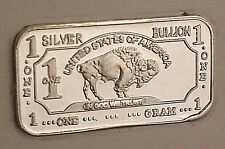 1 Gram .999 Fine Silver Bar - Buffalo Design - Great For Starter Collections!