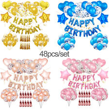 "Usa 48Pcs Happy Birthday Decorations Party Supplies Set 12"" Foil Balloons Banner"