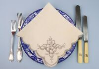 4 Medium Linen Napkins Dinner Lunch Embroidered Grapes & Leaf 1920 Vintage Retro