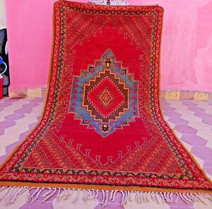 Moroccan Vintage Rug Boujaad Handmade Berber Geometric Boujad Wool Red Carpet 8'