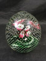 """Vintage Decorative Glass Paperweight  3 Pink Flowers in Bubbles 3"""""""