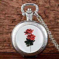 Rose Steampunk Vintage Pocket Watch Chain Pendant Antique Quartz Movement Women