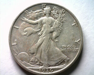 1936-D WALKING LIBERTY HALF EXTRA FINE XF EXTREMELY FINE EF NICE ORIGINAL COIN