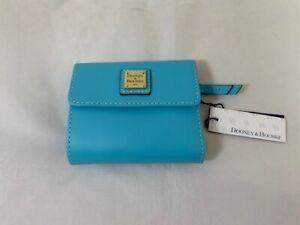 NWT Dooney & Bourke Leather Beacon Flap Wallet in Sky Blue