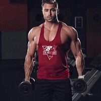 Men's Wolf Gym Stringer Bodybuilding Cotton Muscle Y-back Fitness Tank Top Vest