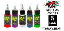 MOMS Tattoo Nuclear Ultra Violet UV Blacklight Ink Set of 5 Colors Bottle 1/2 oz
