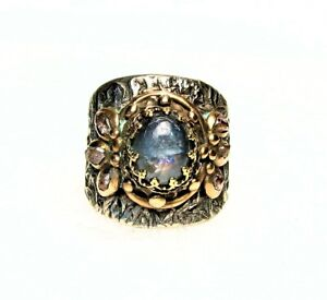 White and Golden Bronze Ring-Blue Fluorite and Herkimer Diamond Stone-Size 8,5