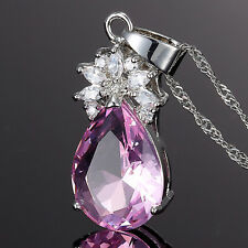 Fashion Jewelry Pear Cut Pink Sapphire Gp Amethyst Pendant Necklace Chain