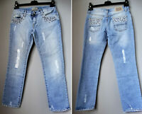 BRENDA BROWN jeans donna W LES FEMMES lustrini perline strappi M 42 MADE ITALY