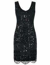 1920s Flapper Dress Gatsby Sequin Scalloped Inspired Cocktail Dress Size 16 18