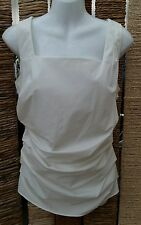 ANN TAYLOR BNWT White Sleeveless Ruched Top Size 8 RRP £60