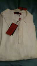 Mens Bergati 3 Btn Collared Cream Sweater Shirt SS 100% Viscose Mens sz 3XL