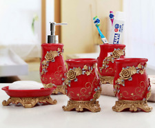 5pcs Red Embossment Flowers Bathroom Accessories Set Resin Soap Dish Dispenser