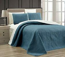 Gold Crown 2-Pc Grey ORNATO Reversible Bedspread Set Twin/XL Embossed Cover