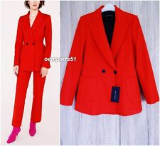 ZARA STUNNING RED TAILORED DOUBLE BREASTED JACKET SIZE M UK 10