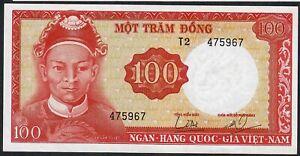 VIETNAM P19a 100 DONG 1966 #T.2 WMK=DEMON ' S HEAD      UNC.