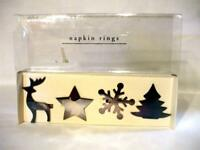 4 PIER ONE HOLIDAY CHRISTMAS NAPKIN RINGS HOLDERS REINDEER SNOWFLAKE TREE STAR