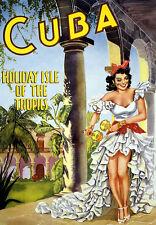Retro Cuba HOLIDAY ISLE viajes, vacaciones arte cartel impresión vacaciones A3