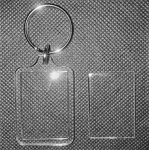 2x Blank Acrylic Keyrings 41x30mm Frame & 35x24mm Photo key ring plastic F1444