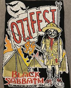 Vtg 1999 Ozzy Osbourne Ozzfest T-Shirt Black Sabbath Rob Zombie Mens sz XL 90s