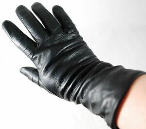 SOFT SUPPLE BLACK LEATHER 100% CASHMERE LINED MADE ITALY WOMEN Sz 7 DRESS GLOVES