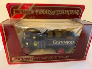 GUINNESS MATCHBOX MODELS OF YESTERYEAR ,Y27 1922 FODEN STEAM LORRY
