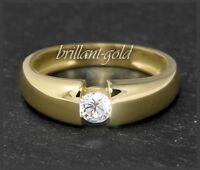 Diamant Brillant 585 Gold Ring 0,26ct / Top Wesselton F / VS2, 14 Karat Gelbgold