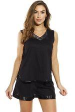 Womens Pajama Short Set Sleepwear Satin Trim and Embroidery Black 3x Plus