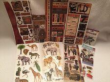 Lot Scrapbooking Animals Western Safari Zoo Assortment Stickers Die Cuts Set