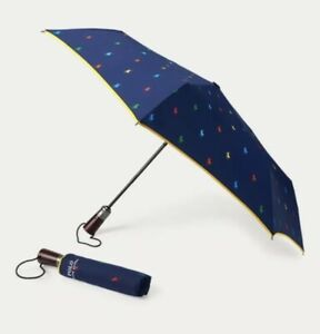 BNWT POLO RALPH LAUREN ALL OVER PONY AUTOMATIC COMPACT UMBRELLA WITH POUCH