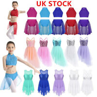 UK Kids Girls Sequined Ballet Dance Leotard Dress Lyrical Dancewear Costume Set