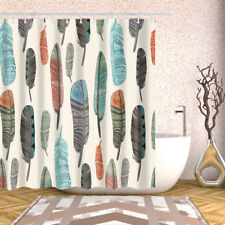 Bathroom Shower Curtain Decor Set Feather Printing Bath Curtains + 12 hooks