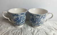 Nikko Blossom Time Tea Rose Cups Set of 2 Blue and White Chintz EUC