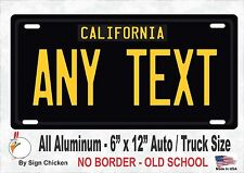 California Black, Personalized Custom License Plate NO BORDER -  AUTO 6 X 12
